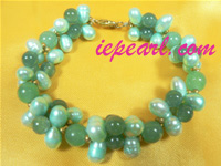 Light green potato pearl bracelet with Malaysia jade wholesale
