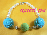 5-6mm white pearl bracelet with carved beads wholesale online