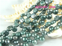 peacock green 6-7mm side drilled bread freshwater pearl strand