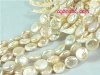 pink 10mm center drilled coin freshwater pearl strand