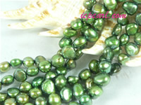 dark green 6-7mm nugget freshwater pearl strand