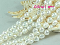 natural white 6-7mm rice freshwater pearl strand
