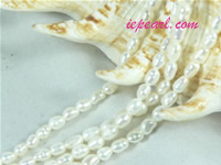 ivory white 3-3.5mm rice freshwater pearl strand