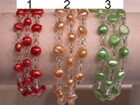 Wholesale 6-7mm pearl bracelet with crystal beads
