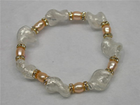 Wholesale 6-7mm pink rice pearls bracelet in low price
