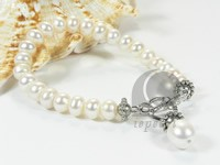 White freshwater pearl with alloy fittings bracelet wholesale