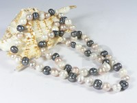 9-10mm multi-color freshwater potato pearl rope necklace