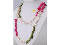 mixing color hand knotted blister pearl long necklace