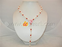 5mm round red coral necklace with 6-7mm rice shape pearl