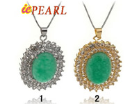 wholesale green jade zircon mounting pendants, 2 colors