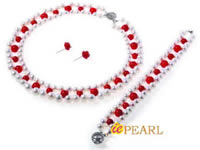 skillfully hand knotted pearl & coral choker necklace wholesale