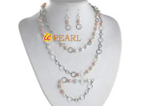 6-7mm pink & white off-round pearl jewelry set wholesale