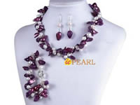 Two twisted strands purple blister pearl necklace wholesale