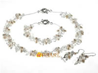 4-5mm white side-drilled pearls necklace with crystals wholesale