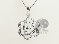 flower shape 19*20mm sterling silver rhodium plated pendant