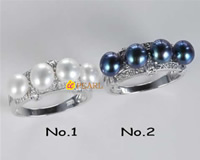 6-6.5mm genuine freshwater pearl 925 silver rings