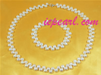 6-7mm white bread pearl necklace set wholesale