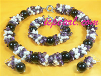 5-6mm white rice shaped pearl necklace set with purple crystal